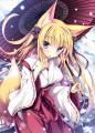 冬の和傘の狐巫女さん